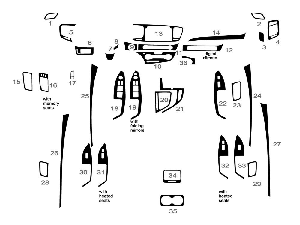 Kia Optima 2014-2015 Dash Kit Diagram