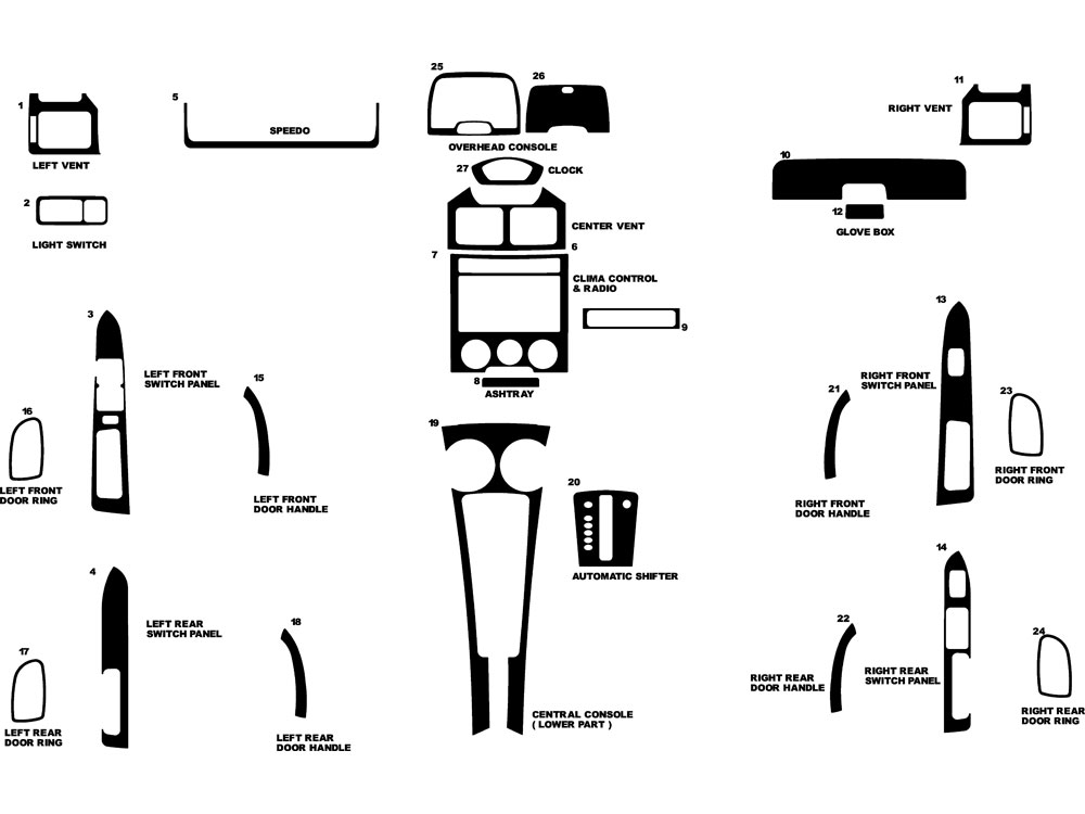 Kia Rio 2003-2005 Dash Kit Diagram
