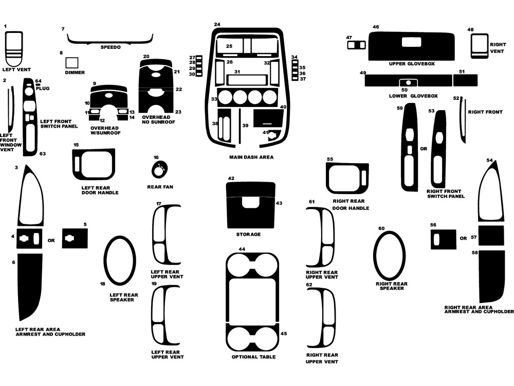Kia Sedona 2002-2005 Dash Kit Diagram