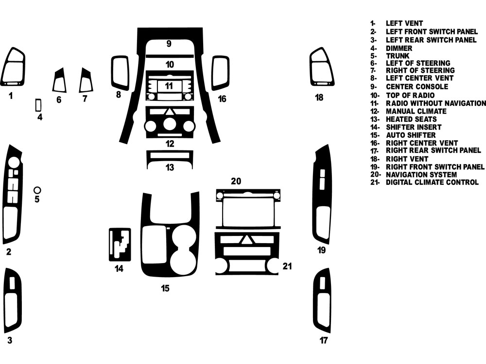 Kia Sorento 2011-2013 Dash Kit Diagram