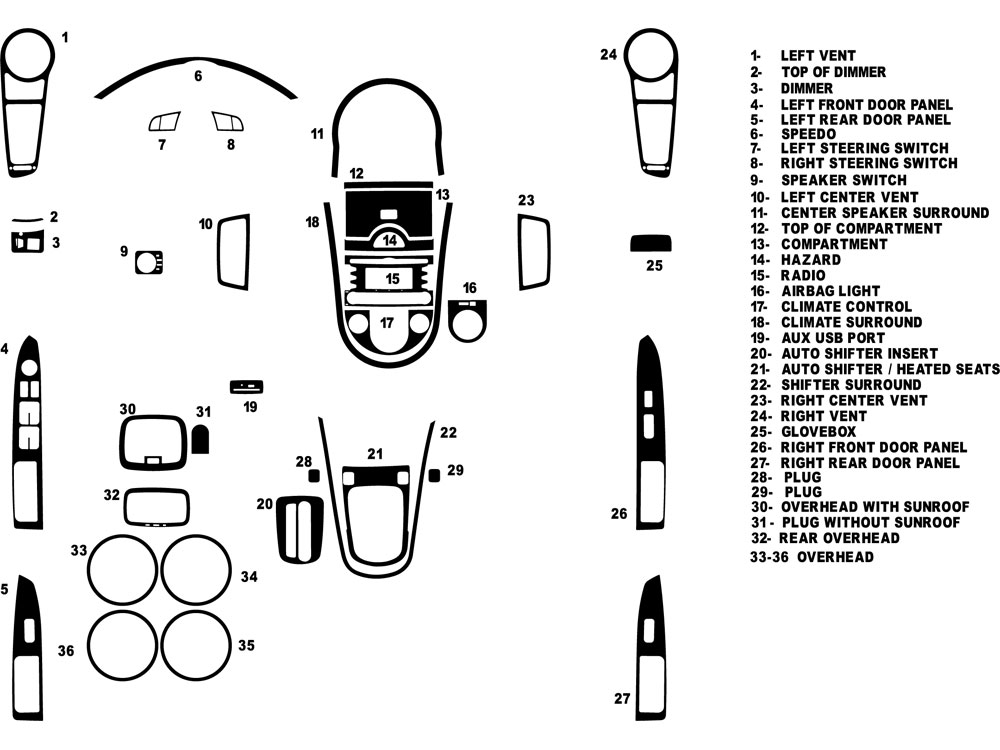 Kia Soul 2010-2011 Dash Kit Diagram