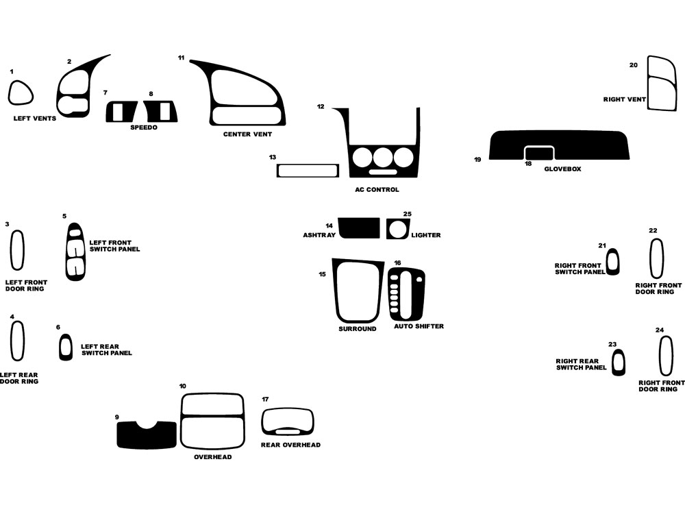 Kia Spectra 2002-2004 Dash Kit Diagram