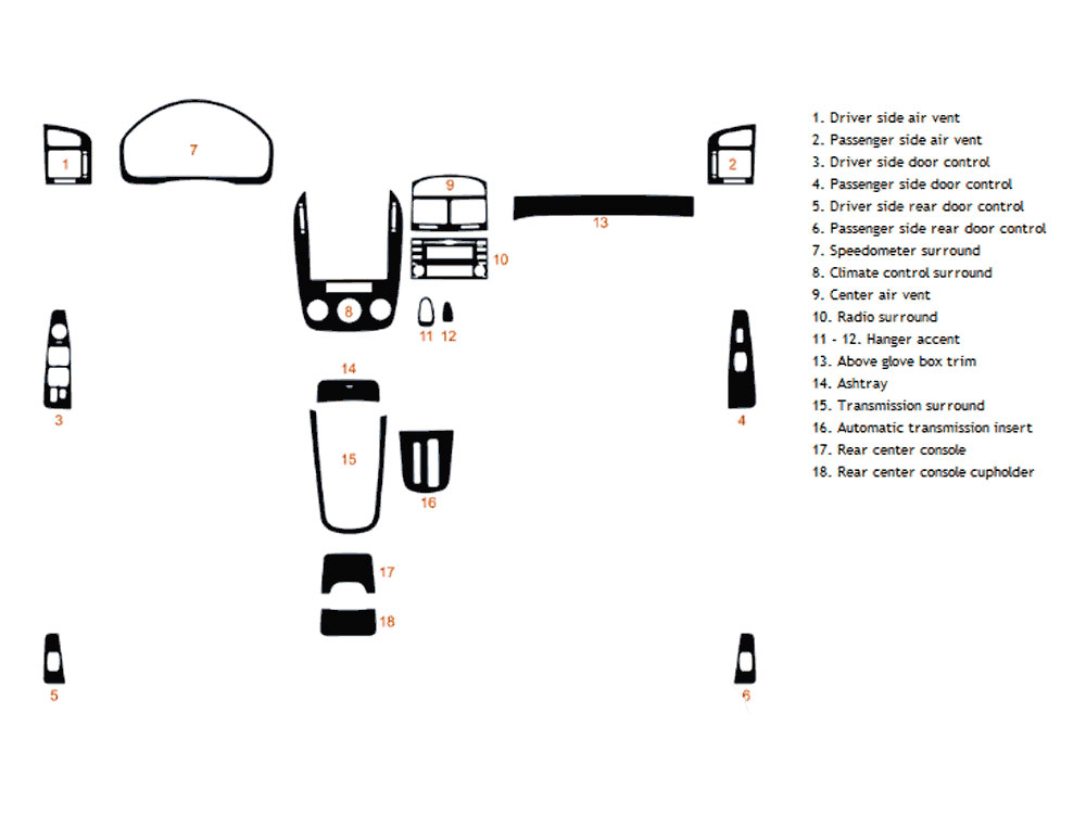 Kia Spectra 2007-2009 Dash Kit Diagram