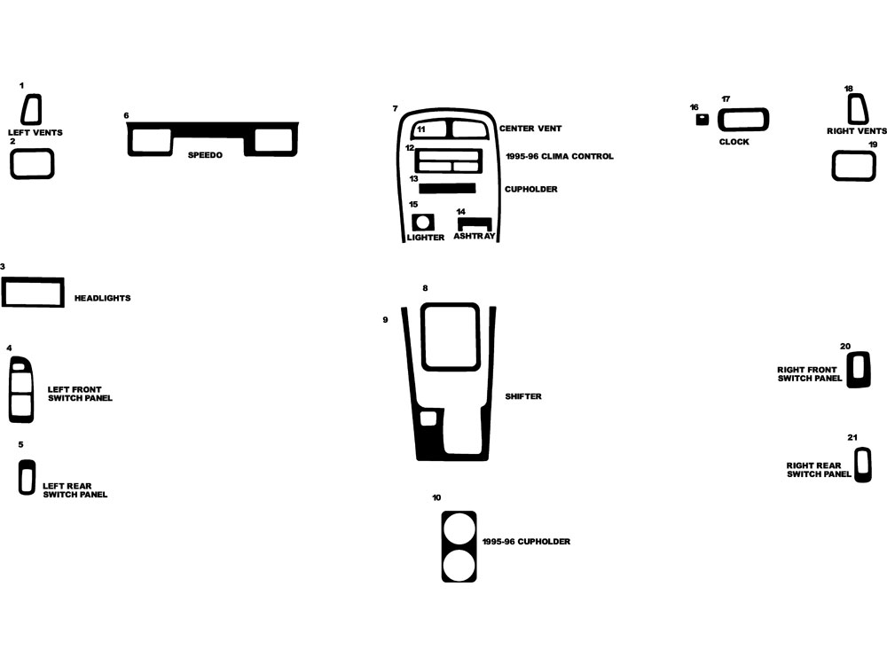 Kia Sportage 1995-1997 Dash Kit Diagram
