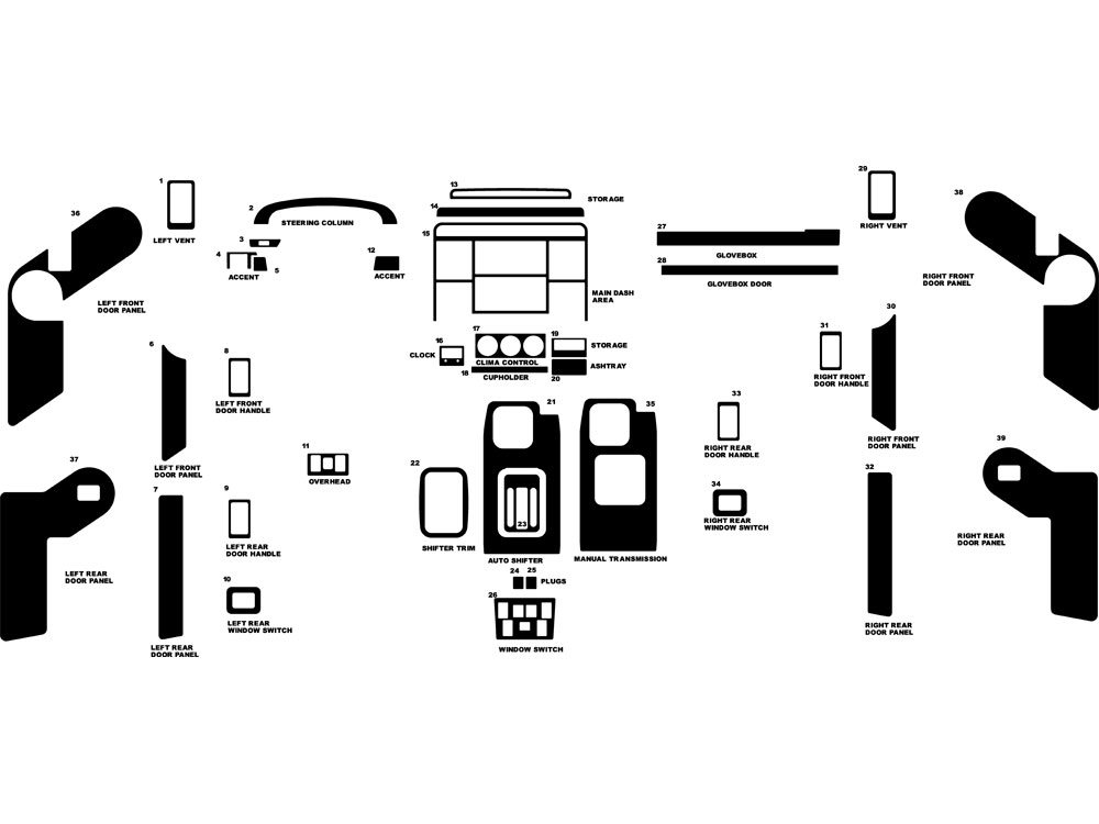 Land Rover Discovery 1995-1998 Dash Kit Diagram
