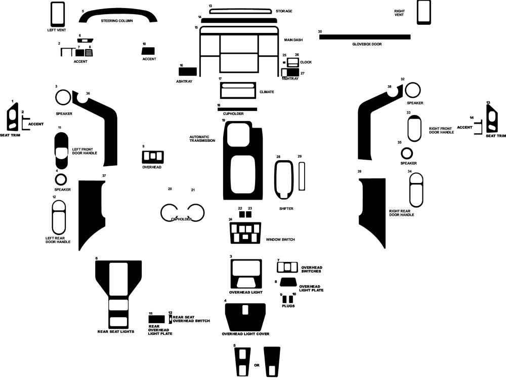 Land Rover Discovery 1999-2004 Dash Kit Diagram