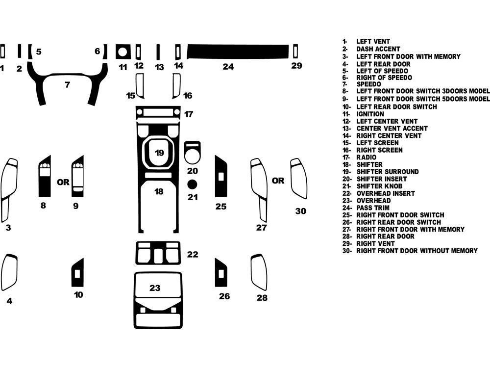 Land Rover Range Rover Evoque 2012-2016 Dash Kit Diagram
