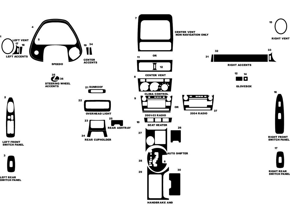 Lexus IS 2001-2005 Dash Kit Diagram
