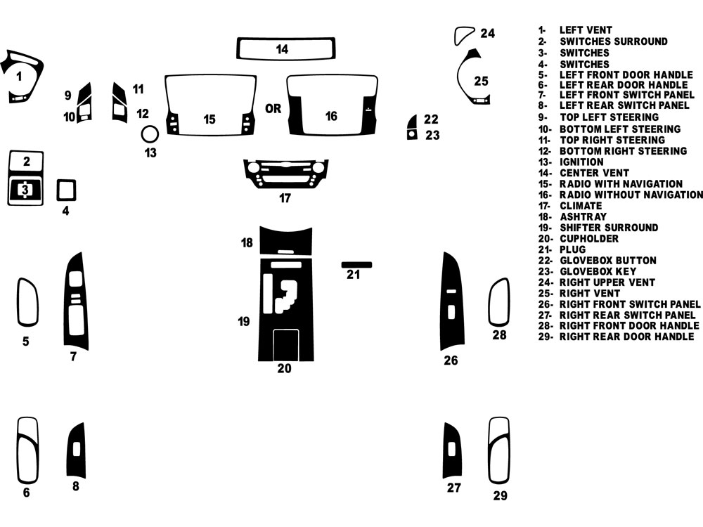 Lexus IS 2009-2013 Dash Kit Diagram