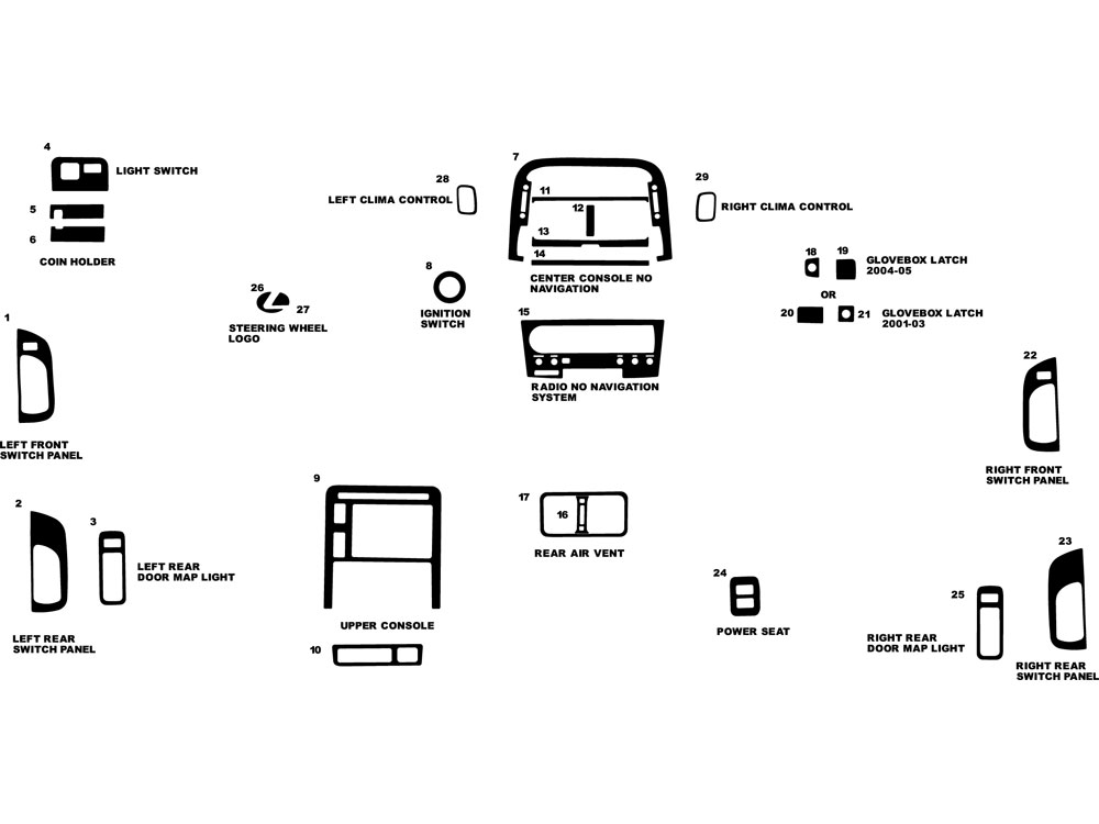 Lexus LS 2001-2003 Dash Kit Diagram
