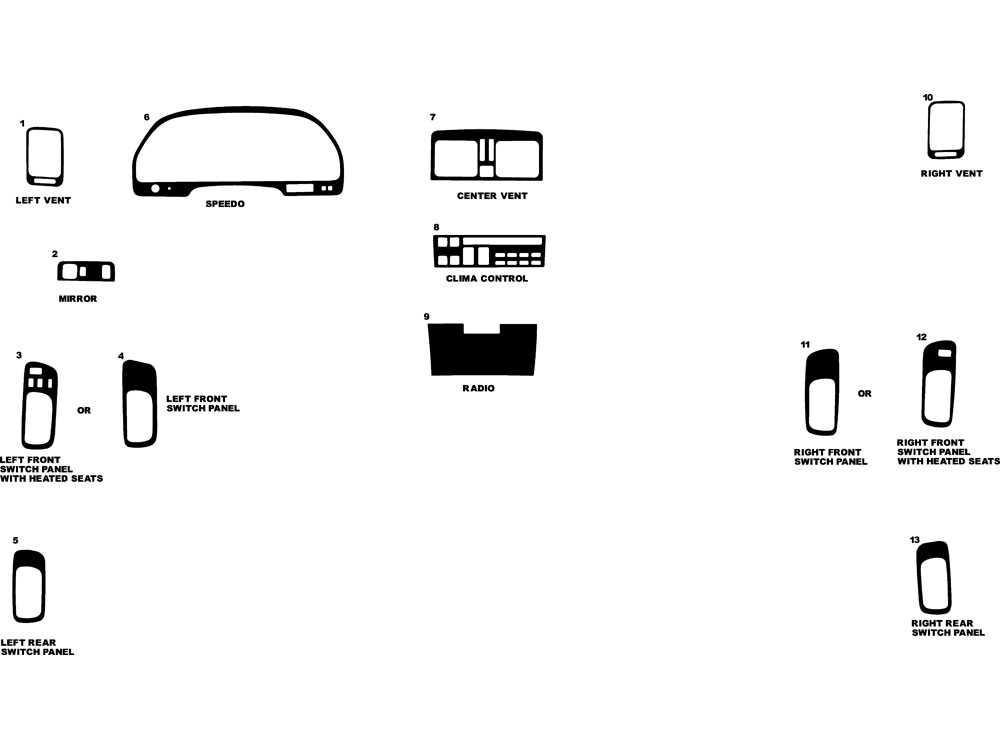 Lexus LS 1990-1992 Dash Kit Diagram