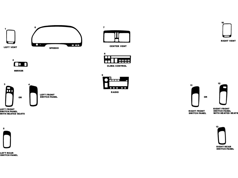 Lexus LS 1993-1994 Dash Kit Diagram