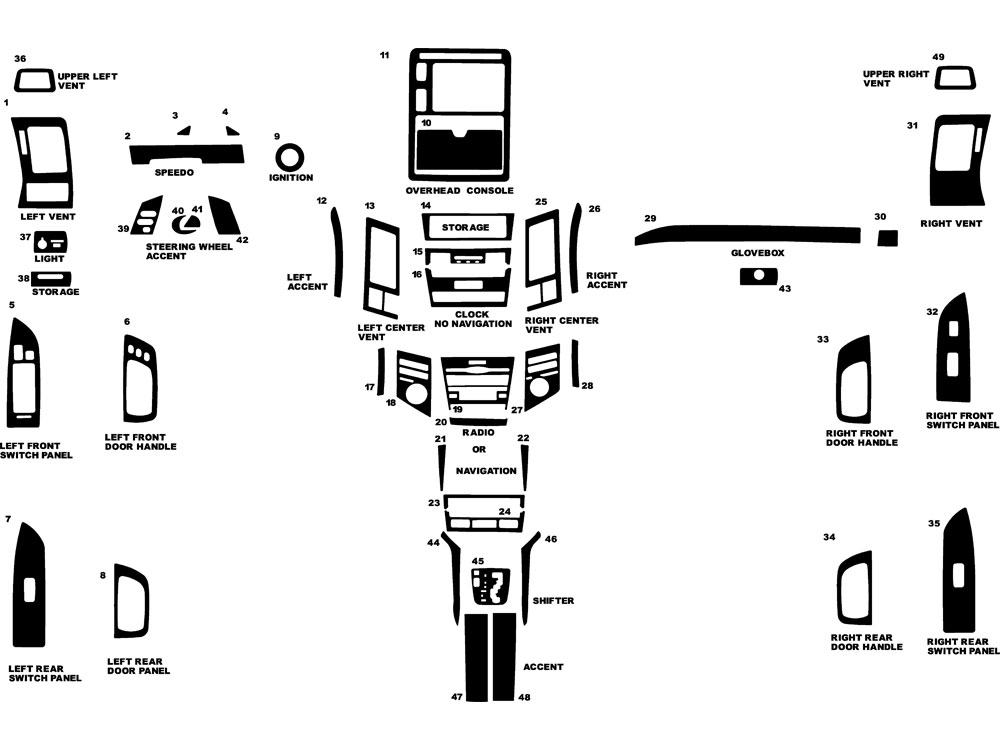 Lexus RX 2004-2009 Dash Kit Diagram