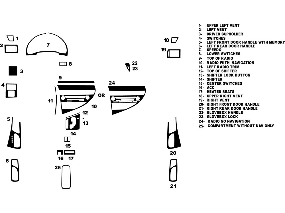 Lexus RX 2010-2012 Dash Kit Diagram