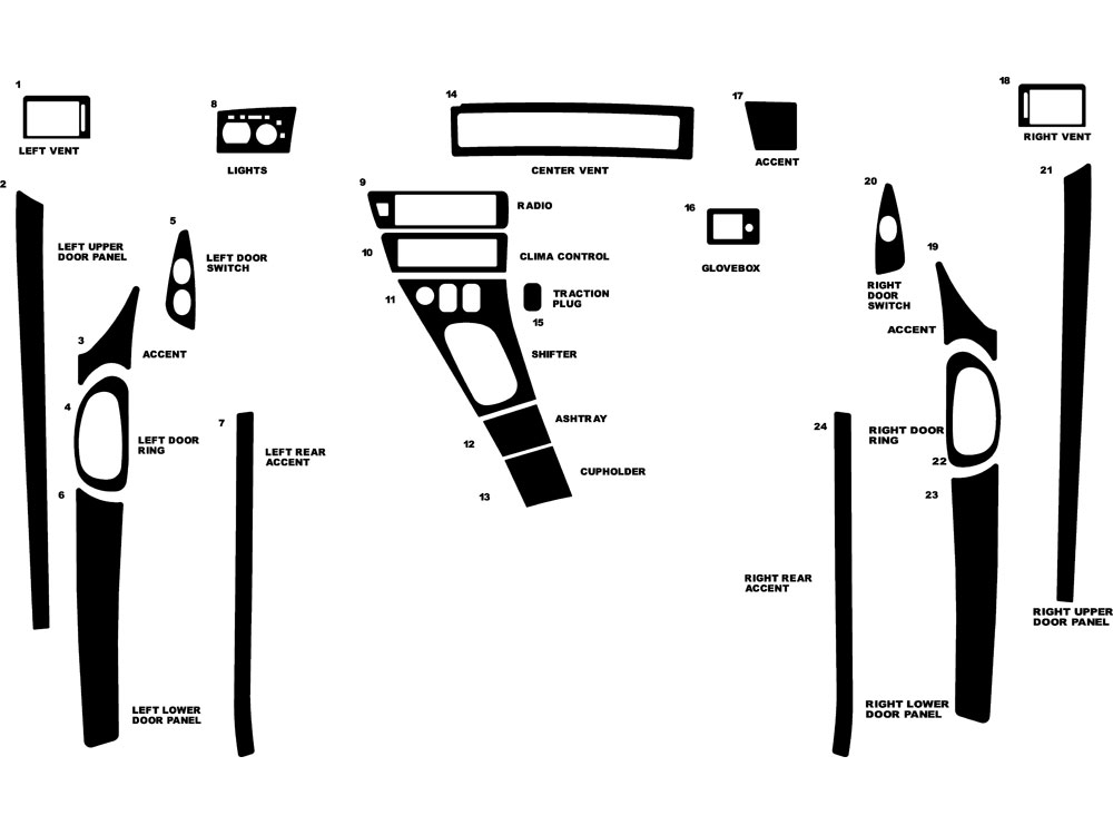 Lincoln Mark VIII 1993-1996 Dash Kit Diagram