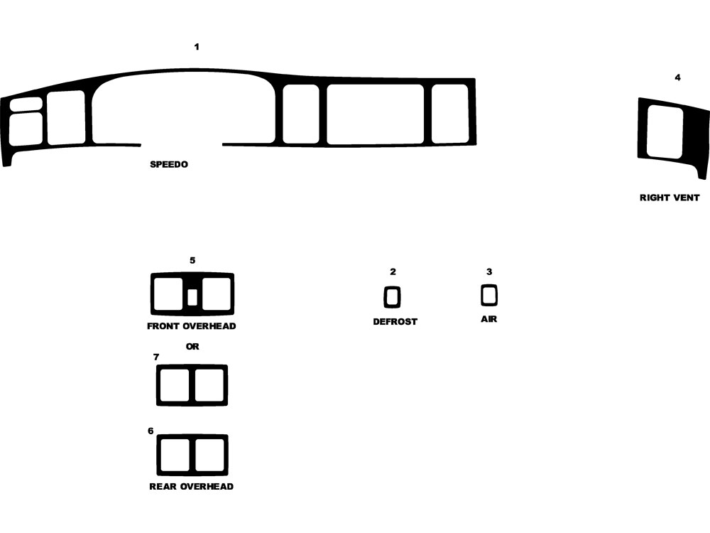 Lincoln Town Car 1995-1997 Dash Kit Diagram