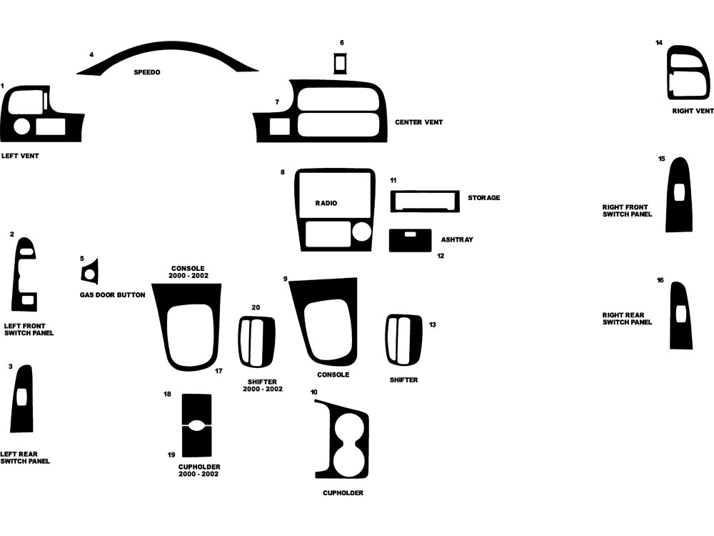 Mazda 626 1998-2002 Dash Kit Diagram