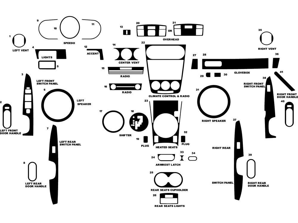 Mazda CX-7 2007-2009 Dash Kit Diagram