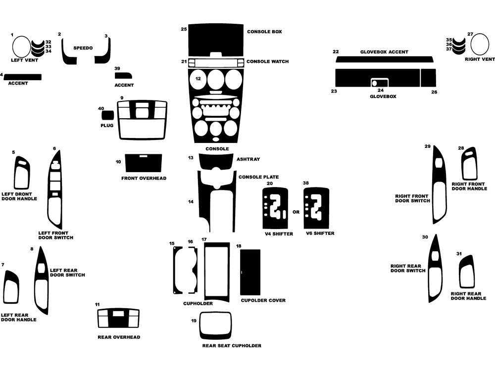 Mazda Mazda6 2003-2005 Dash Kit Diagram