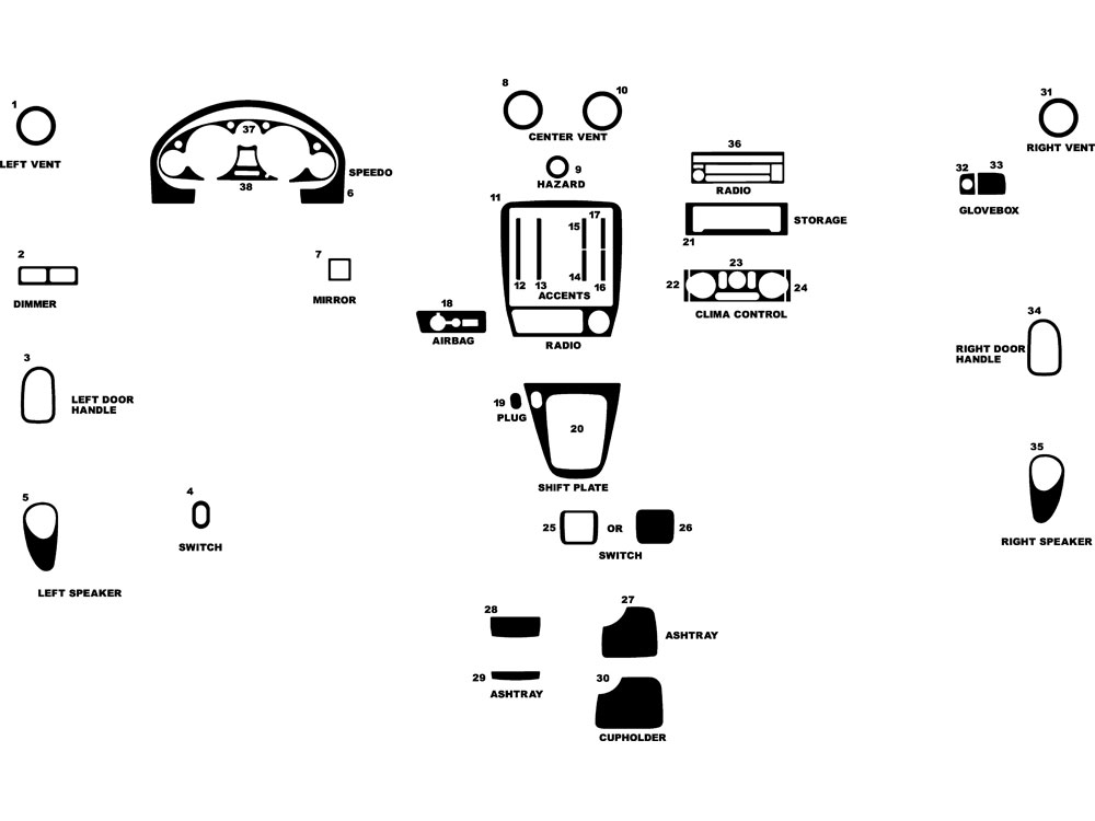 Mazda Miata 2001-2005 Dash Kit Diagram
