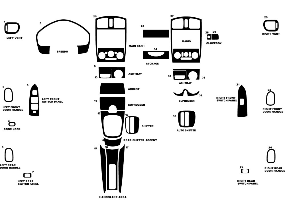 Mazda Protege 1999-2003 Dash Kit Diagram