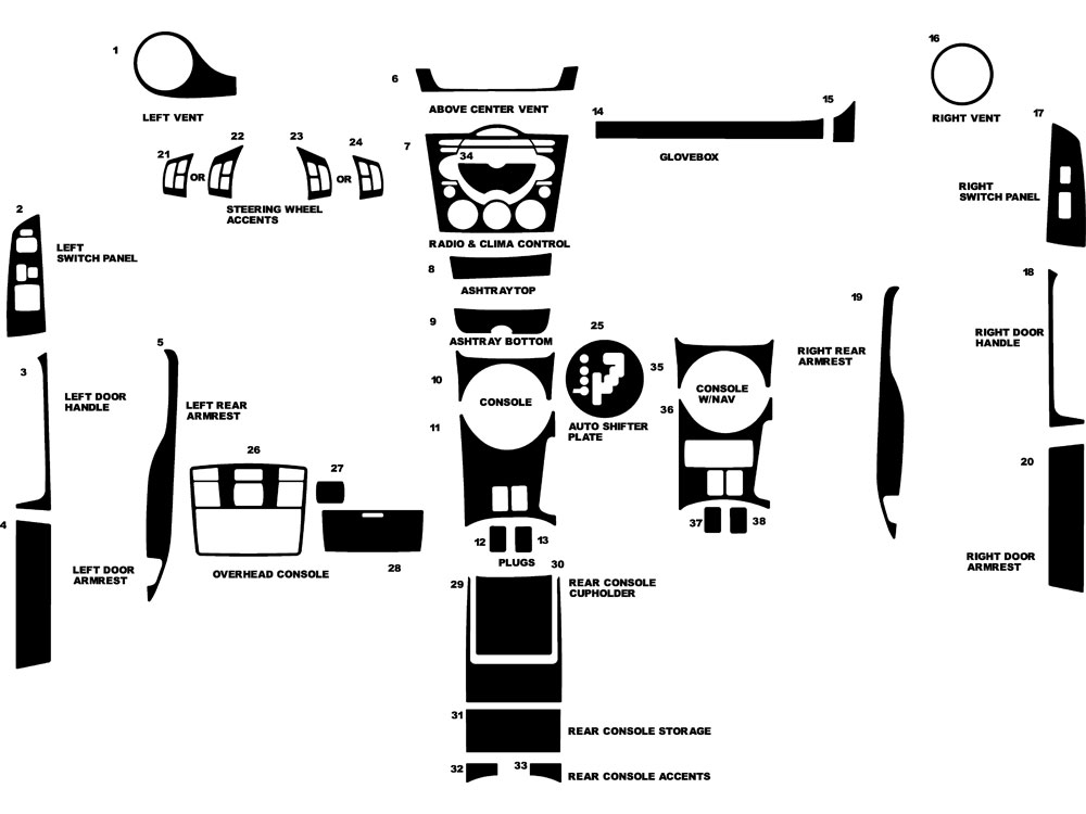 Mazda RX-8 2004-2008 Dash Kit Diagram
