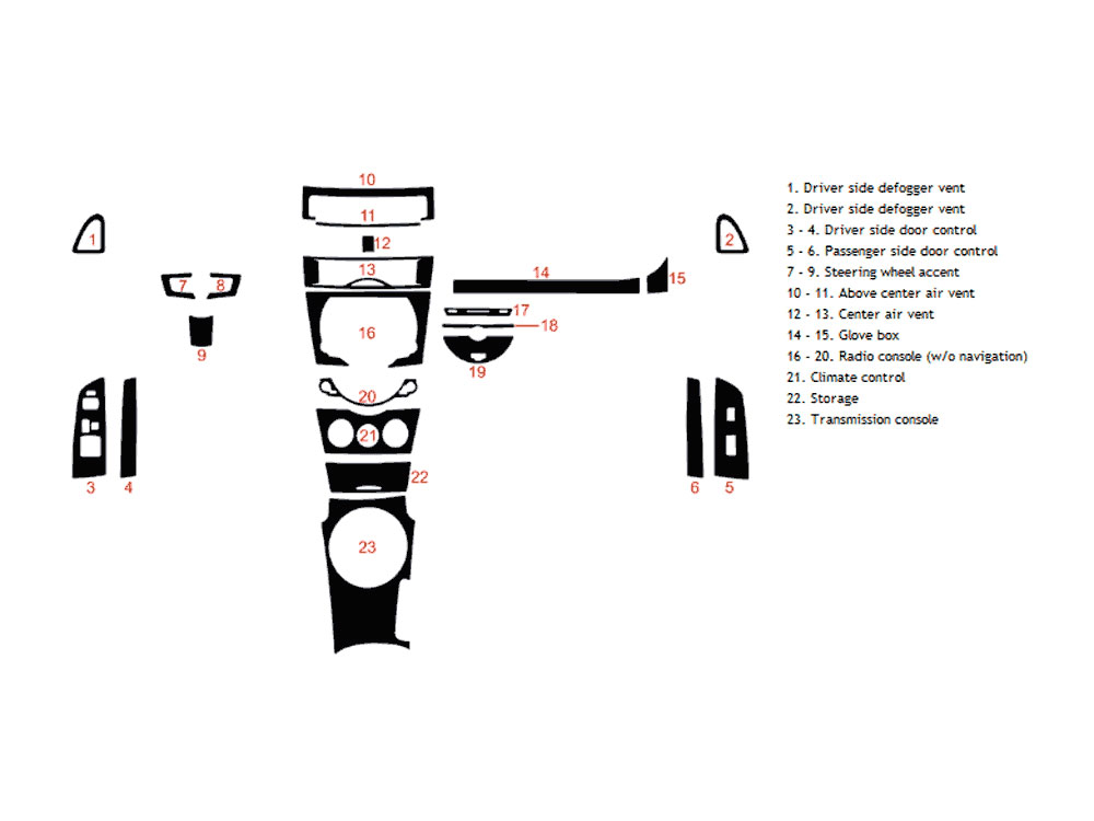 Mazda RX-8 2009-2011 Dash Kit Diagram