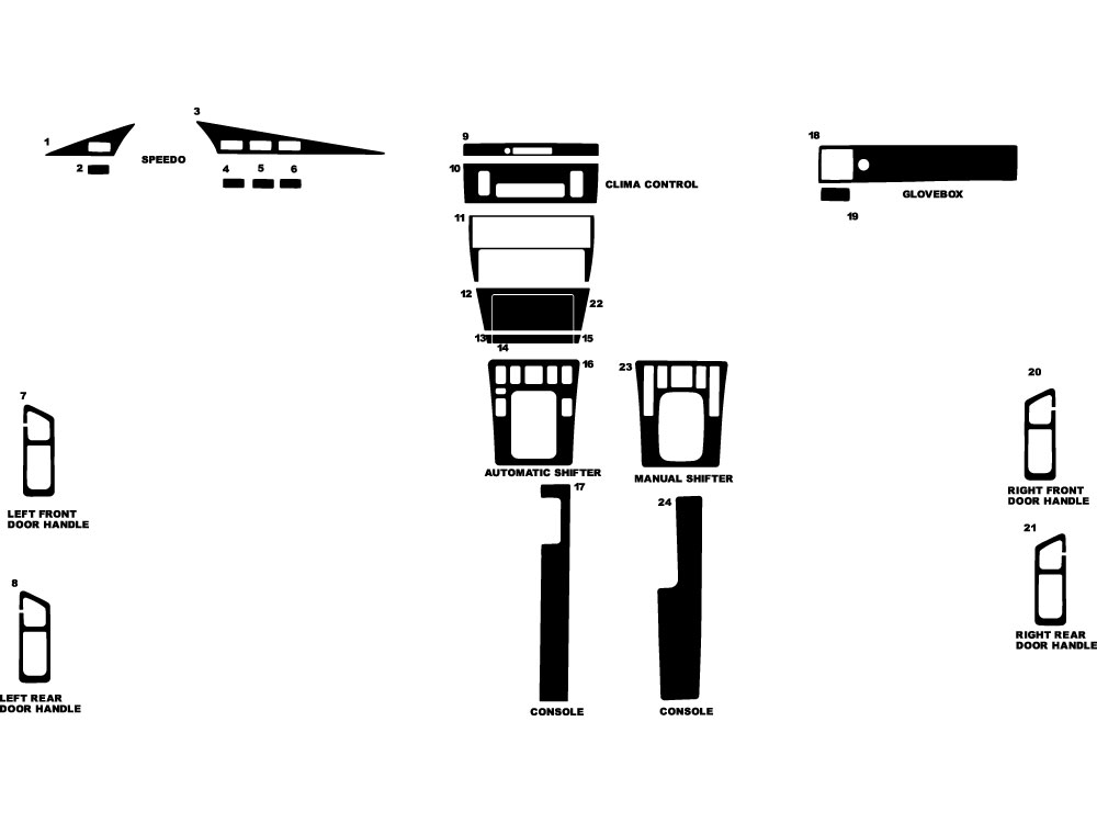 Mercedes 190-Class 1985-1992 Dash Kit Diagram