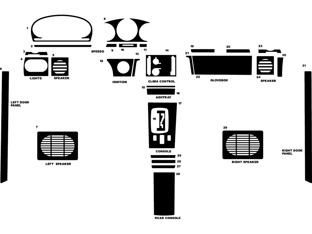 Mercedes-Benz 400-Class 1973-1978 Dash Kit Diagram