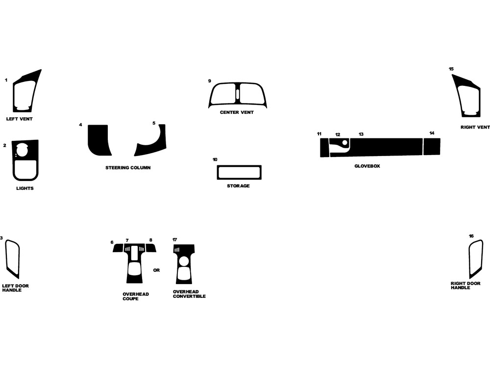 Mercedes CLK-Class 1998-2002 Dash Kit Diagram