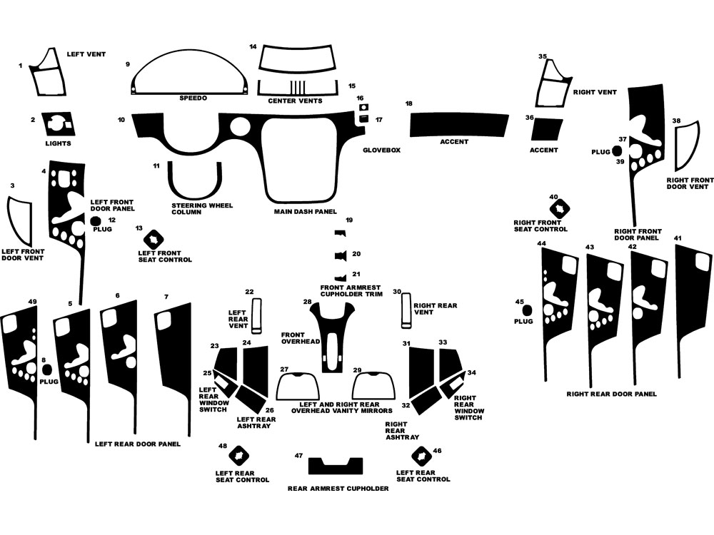 Mercedes-Benz S-Class 2000-2006 Dash Kit Diagram