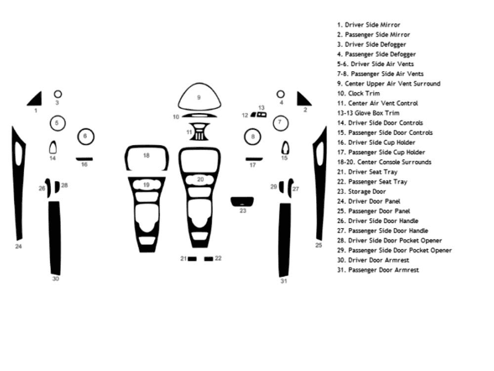 Rvinyl Rdash Dash Kit Decal Trim for Mercedes-Benz CLK-Class 2003-2009 Aluminum Brushed Black