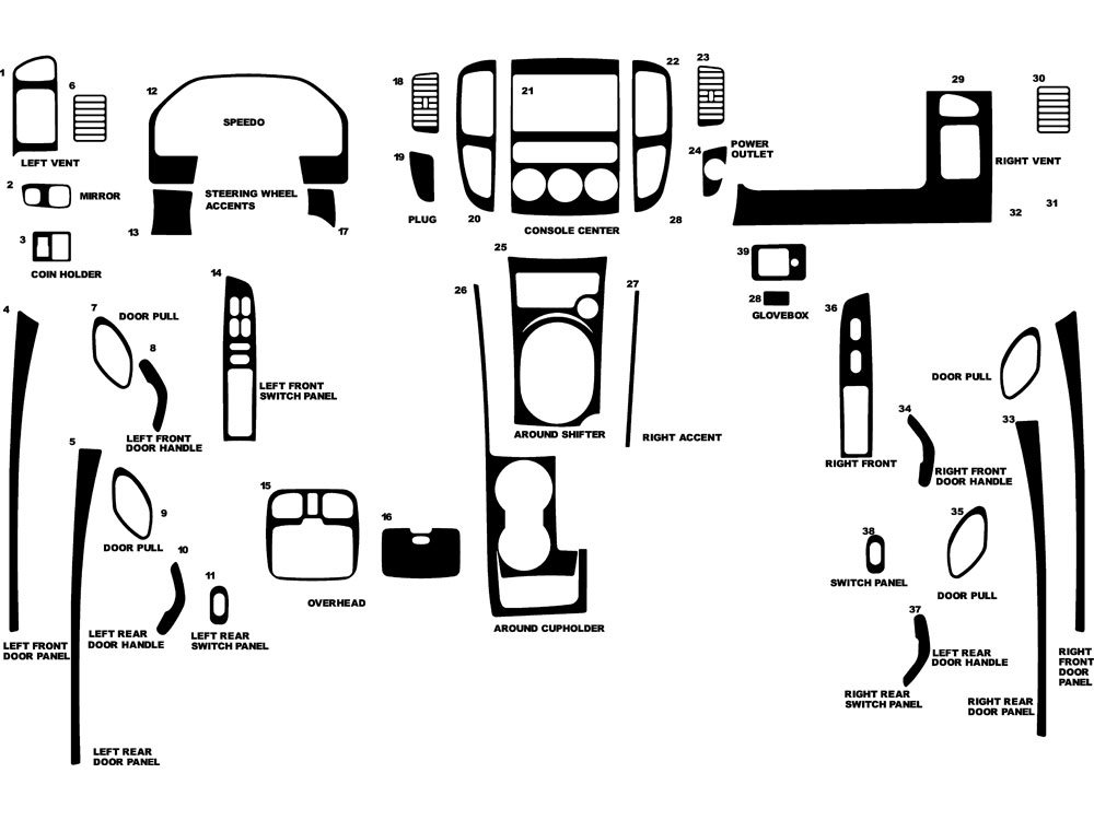 Mercury Mariner 2005-2007 Dash Kit Diagram