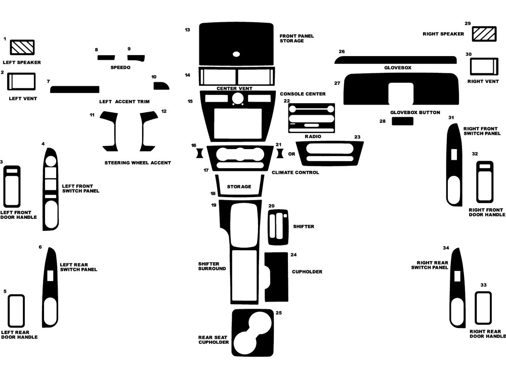 Mercury Milan 2006-2009 Dash Kit Diagram