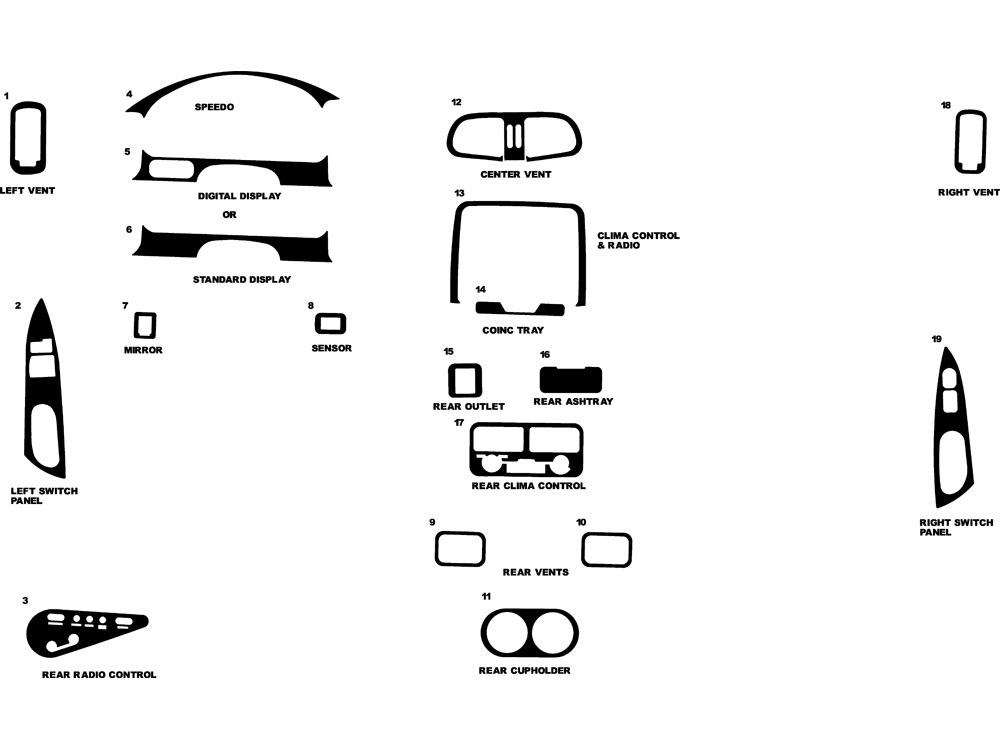 Nissan Quest 1996-1998 Dash Kit Diagram