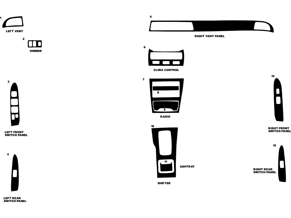 Mitsubishi Diamante 1992-1996 Dash Kit Diagram