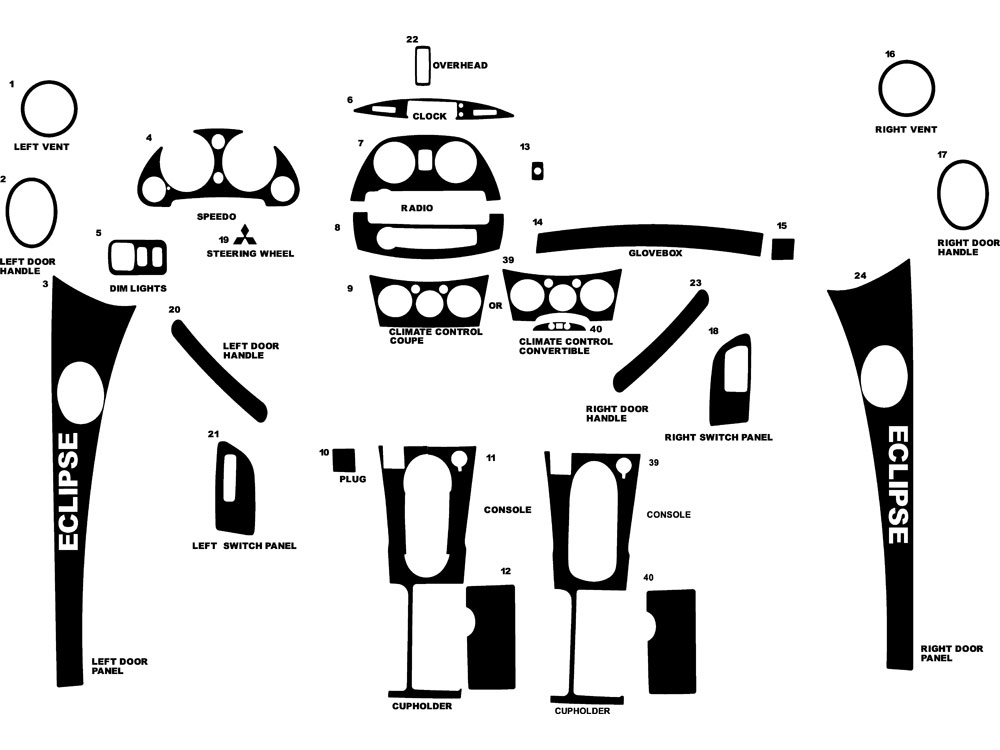 Mitsubishi Eclipse 2006-2012 Dash Kit Diagram