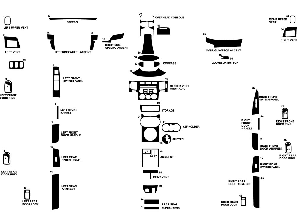 Mitsubishi Endeavor 2004-2006 Dash Kit Diagram