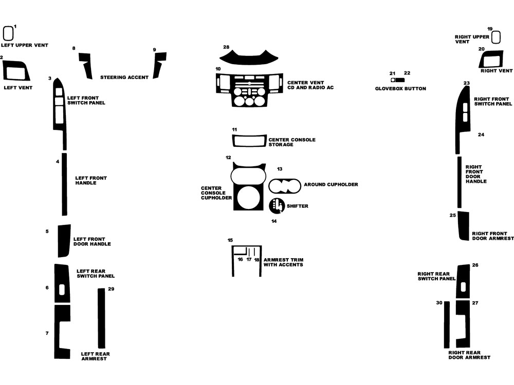 Mitsubishi Endeavor 2007-2010 Dash Kit Diagram
