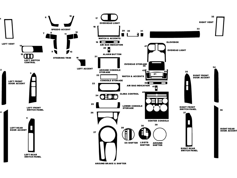 Mitsubishi Galant 2004-2008 Dash Kit Diagram