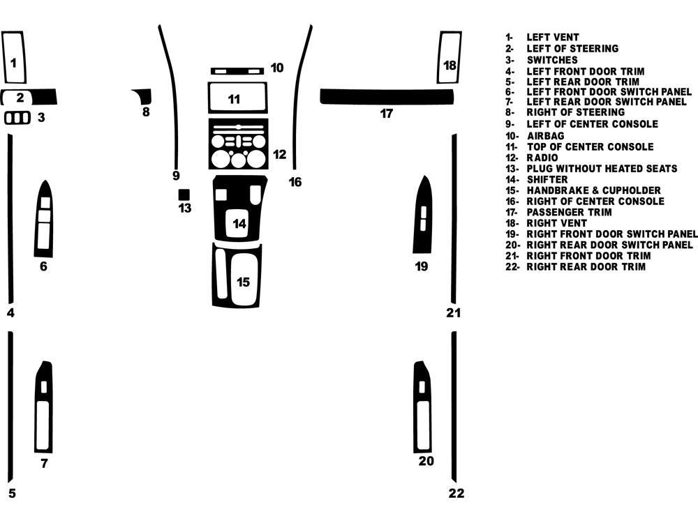 Mitsubishi Galant 2009-2012 Dash Kit Diagram