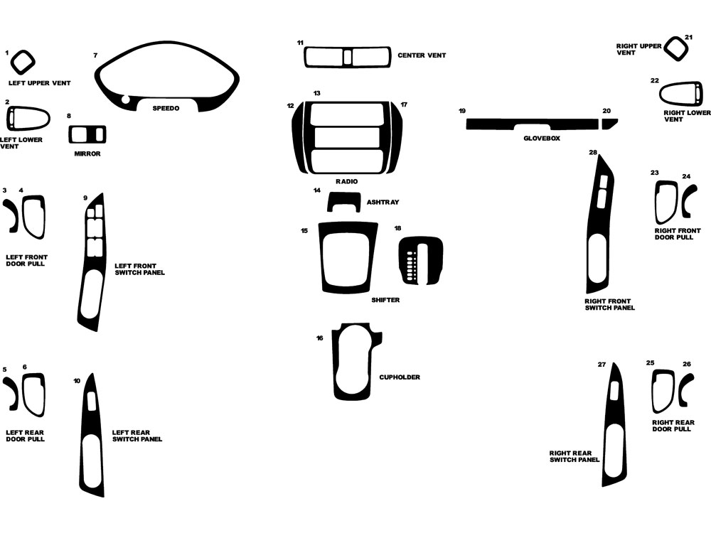 Mitsubishi Galant 1999-2003 Dash Kit Diagram