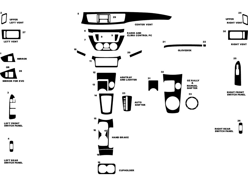Mitsubishi Lancer 2002-2006 Dash Kit Diagram