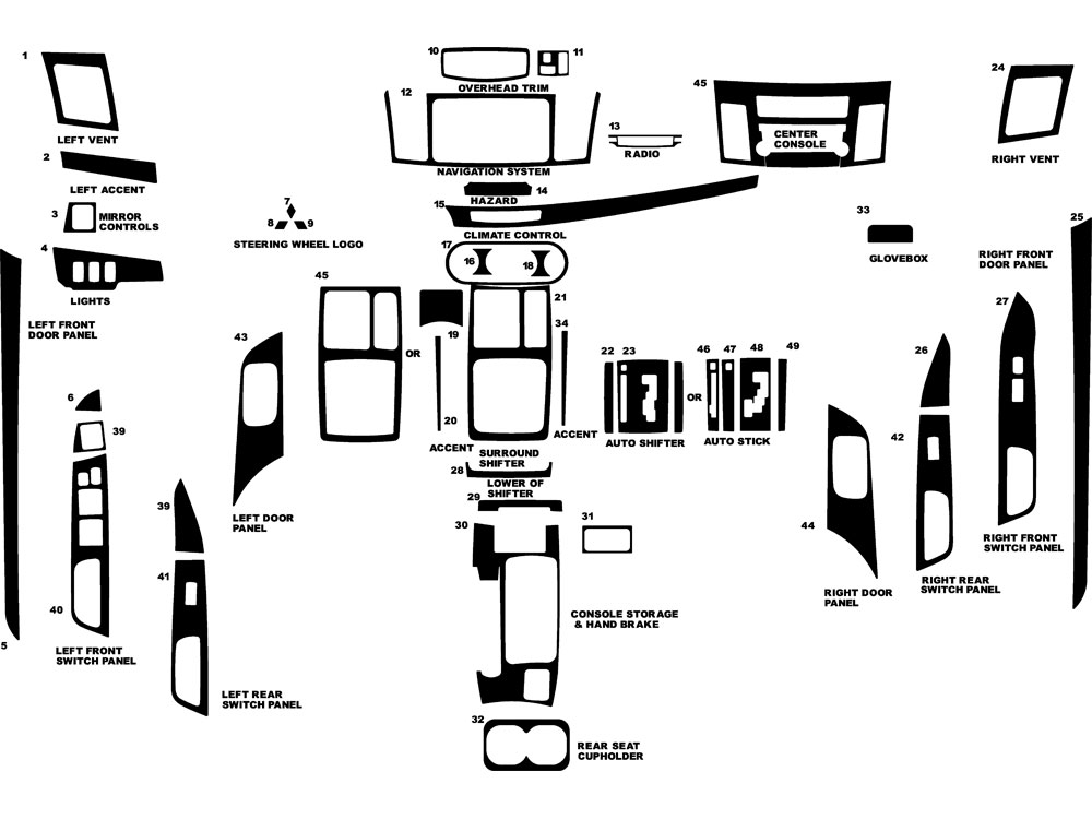Mitsubishi Evolution 2008, 2010-2013 Dash Kit Diagram