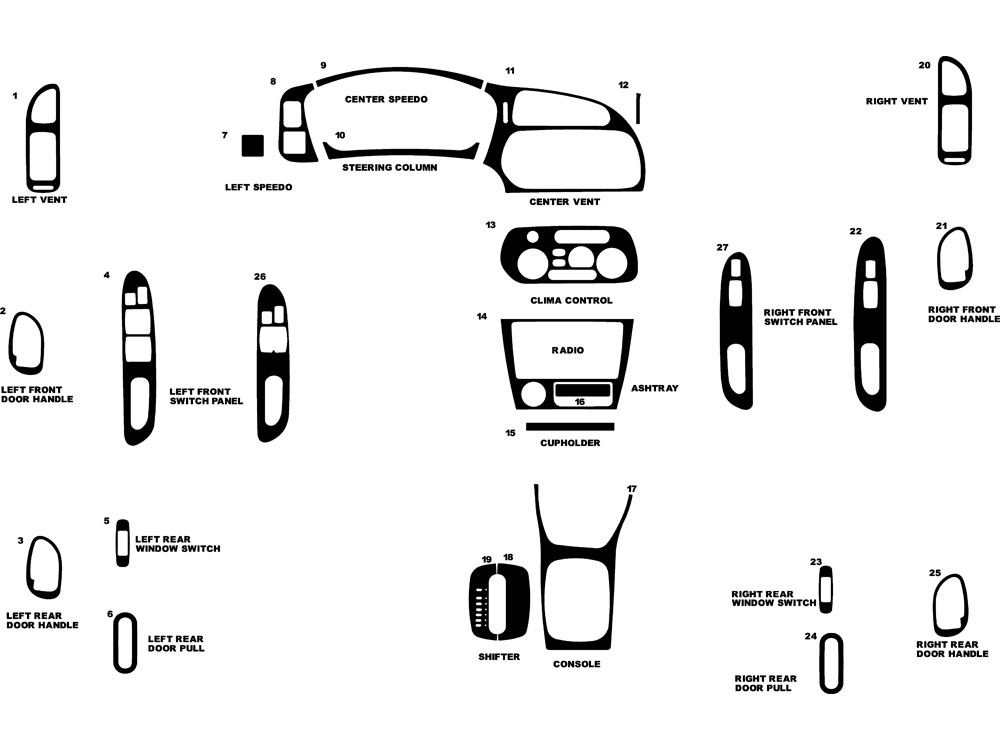 Mitsubishi Mirage 1997-2002 Dash Kit Diagram