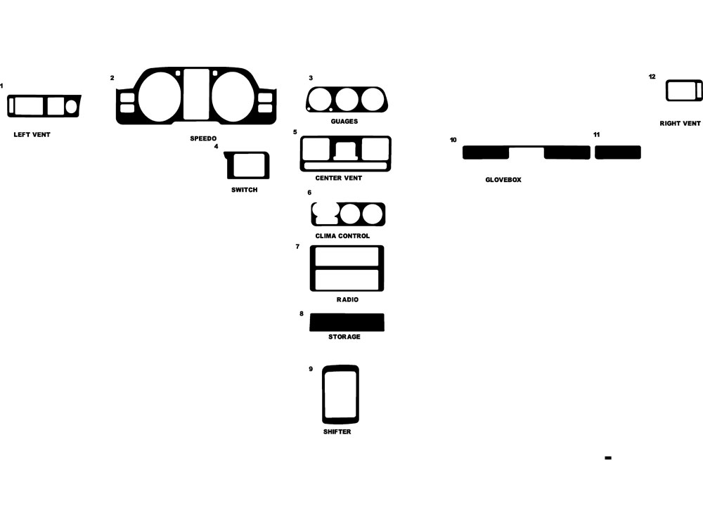 Mitsubishi Montero 1992-1995 Dash Kit Diagram