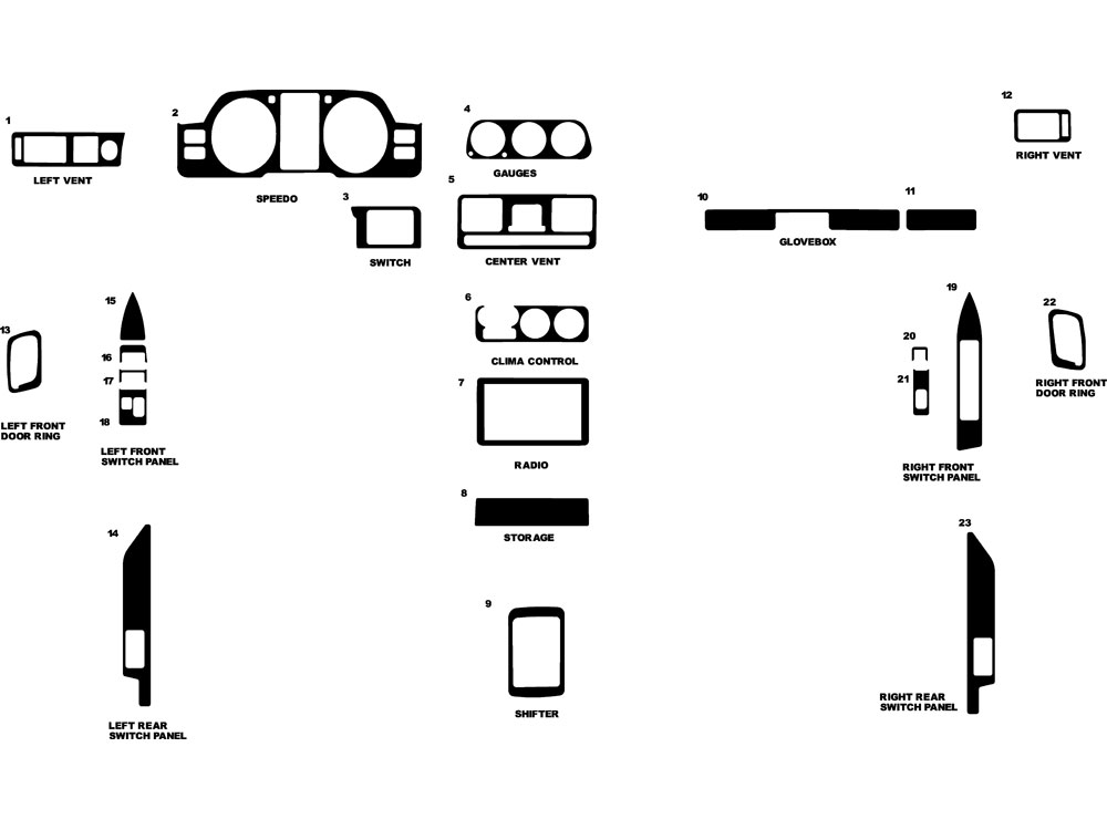 Mitsubishi Montero 1996-2000 Dash Kit Diagram