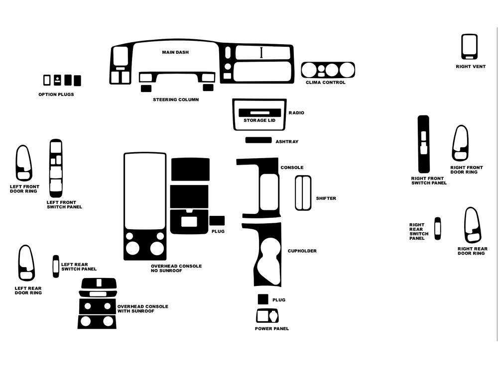 Mitsubishi Montero Sport 2000-2004 Dash Kit Diagram
