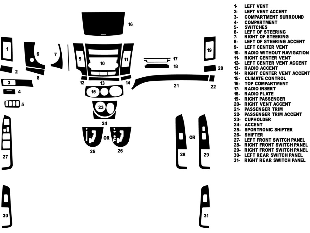 Mitsubishi Outlander 2008-2013 Dash Kit Diagram