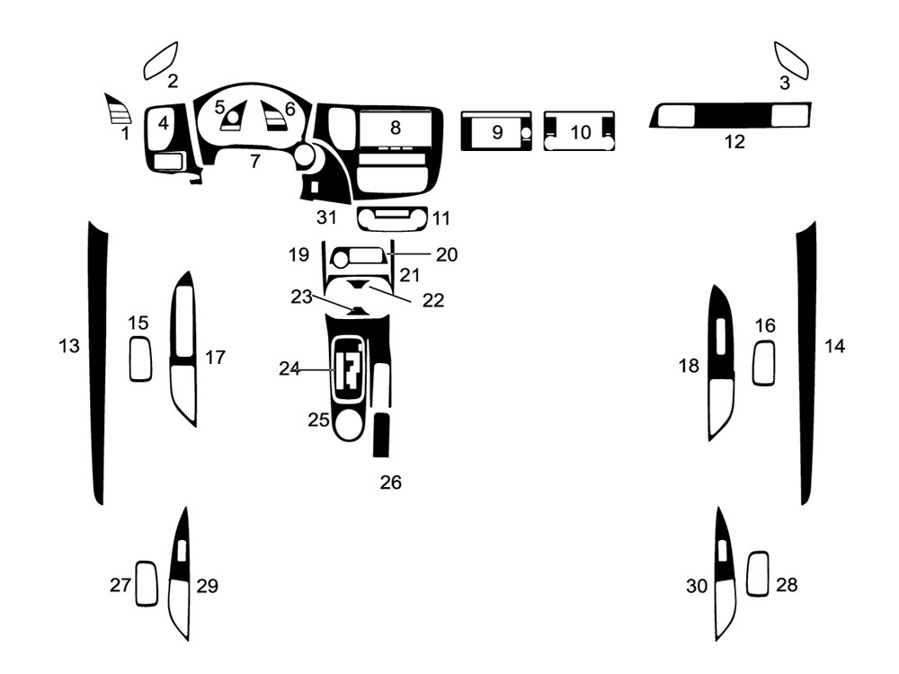 Mitsubishi Outlander 2014-2018 Dash Kit Diagram